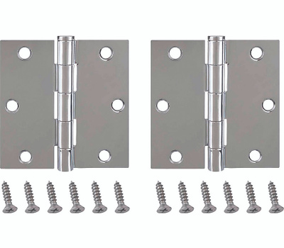 ProSource BH-202CH-PS Door Hinges Square 3-1/2 By 3-1/2 Inch Bright Chrome 2 Pack