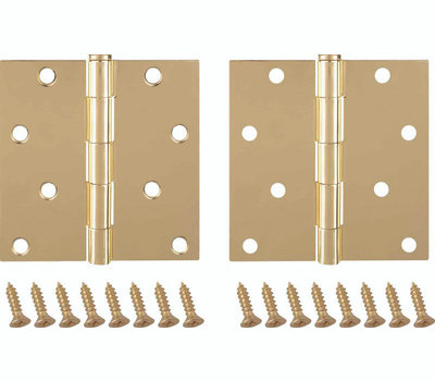 ProSource BH-502PB-PS Door Hinge Square 4 By 4 Inch Plated Bright Brass 2 Pack