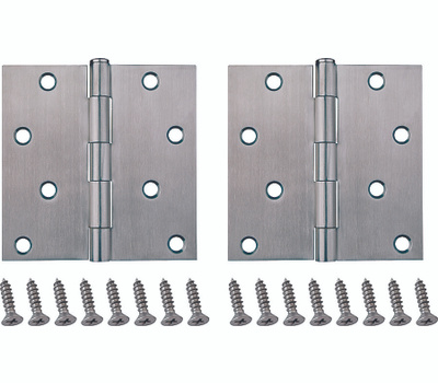 ProSource 20339SS-4S-DB-PS Door Hinge Square 4 By 4 Inch Brushed Stainless Steel 2 Pack