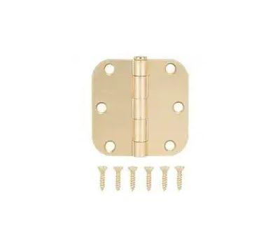 ProSource LR-703-PS Door Hinge 3 By 3 Inch 5/8 Radius Satin Brass