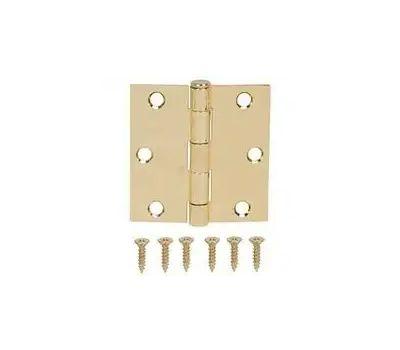 ProSource LR-705-PS Door Hinge Square Corner Polished Brass 3 Inch