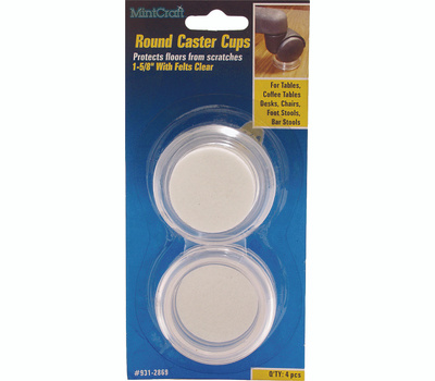 ProSource FE-50820-PS Cups Round 1-5/8 Inch With Felt Clear 4 Pack
