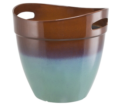 Landscapers Select PT-S039 Resin Planter With Handle Teal 12 Inch