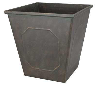 Landscapers Select PT-S046 Resin Planter Square Metallic 14 Inch