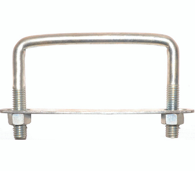 ProSource LR354 Square U-Bolt, Plate & Nuts #673 3/8 By 4 By 3 Inch Zinc Plated Steel
