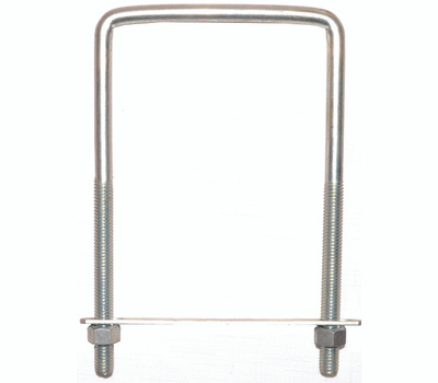 ProSource LR355 Square U-Bolt, Plate & Nuts #677 3/8 By 4 By 7 Inch Zinc Plated Steel