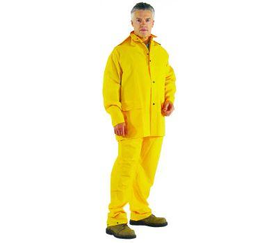 DiamondBack OX025PU-M Rain Suit, M, Polyester, Yellow, Detachable Collar
