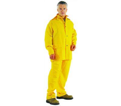 DiamondBack OX025PU-XXXL Rain Suit, 3xl, Polyester, Yellow, Detachable Collar