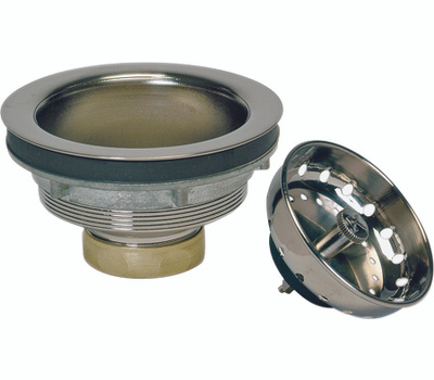 Plumb Pak PP5435DSBN Strainer Polished Brass With Stainless Steel Stick Plastic Basket