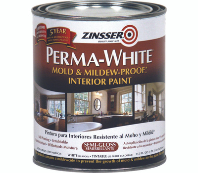 Zinsser 2754 Perma-White Semi Gloss Mold & Mildew-Proof Interior Paint Quart