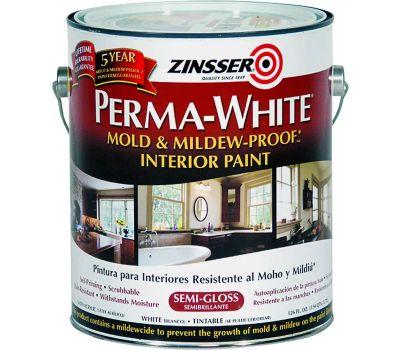 Zinsser 02761 Perma-White Semi Gloss Mold & Mildew-Proof Interior Paint Gallon