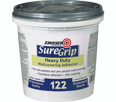 Zinsser 69384 Sure Grip Heavy Duty Clear Strippable Wallcovering Adhesive Quart