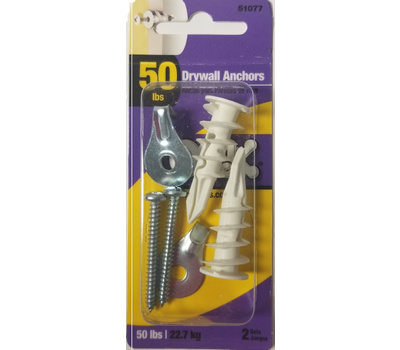 Hillman 534366 Ook Steel Utility 50 Pound Hook Hangers With Threaded Drywall Anchors 2 Sets