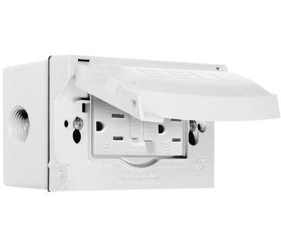 Hubbell 5874-6S Box/Flip Cover 1g Wp Gfci Wht