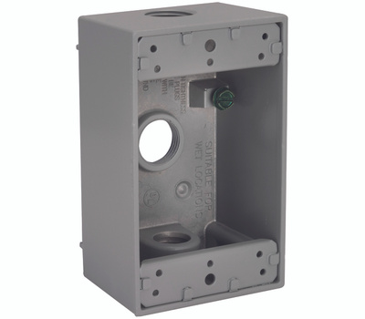 Hubbell 5320-0 Bell 1 Single Gang Aluminum 3 Outlet Box Gray