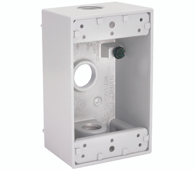 Hubbell 5320-1 Bell Rectangular Box 1 Gang 3 1/2 Outlets White
