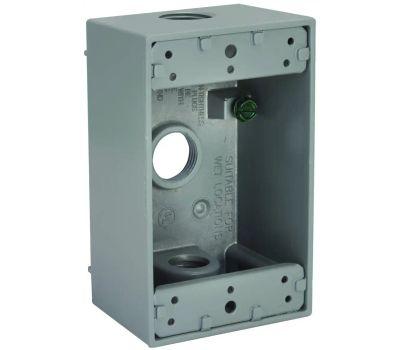 Hubbell 5320-5 Bell 1 Gang Aluminum 3 Outlet Box Gray