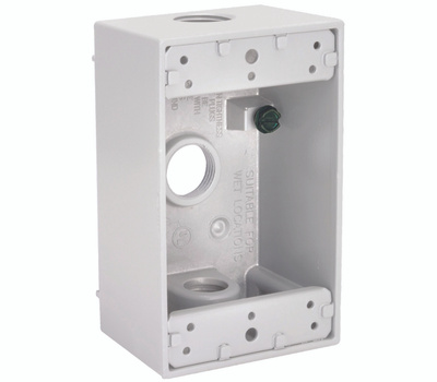 Hubbell 5320-6 Bell 1 Gang Aluminum 3 Outlet Box White