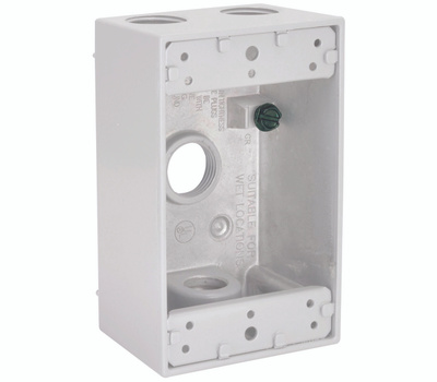 Hubbell 5321-1 Bell Rectangular Box 1G 4 1/2 Outlets Wh