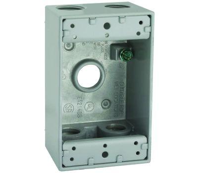 Hubbell 5322-0 Bell Rectangular Box 1 Gang 5 1/2 Outlets Gray