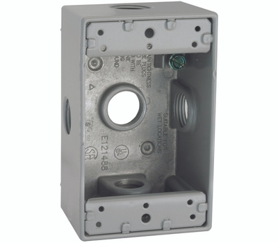 Hubbell 5323-0 Bell 1 Gang Aluminum 5 Outlet Box Gray