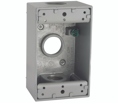 Hubbell 5324-5 Bell 1 Gang Aluminum 3 Threaded Outlet Outlet Box Gray