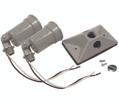 Hubbell 5621-5 Bell 2 Light Weatherproof Lampholder/Cover Gray