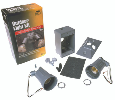 Hubbell 5818-5 Bell 2 Light Weatherproof Floodlight Kit Gray