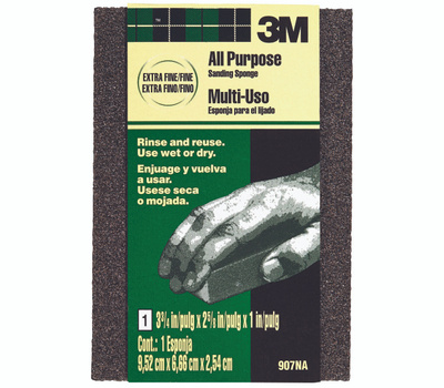 3M 907NA Extra Fine And Fine Sanding Sponge. 3-3/4 Inch By 2-5/8 Inch By 1 Inch.