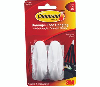 3M 17081 Command Decorating Hooks, With Adhesive, White, 2 Pack