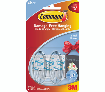 3M 17092CLR Command Adhesive Hook, 1 Pound, 2-Hook, Plastic, Clear