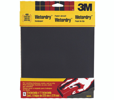 3M 9085NA 400 Grit, 9 Inch By 11 Inch, Waterproof Silicone Carbide Sandpaper, 5 Pack