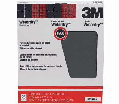 3M 88599 Wet Or Dry Sandpaper Sheets 9 By 11 Inch 1500A Grit