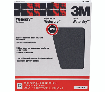 3M 88602 Wet Or Dry Sandpaper Sheets 9 By 11 Inch 120 Grit