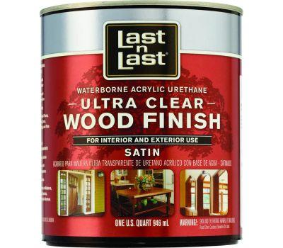 Absolute Coatings 13104 Last-N-Last Ultra Clear Waterbourne Wood Finish Satin Quart