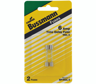Cooper Bussmann BP/MDL-6 Electronic Time Delay Glass Tube Fuses MDL 6 Amp 2 Pack