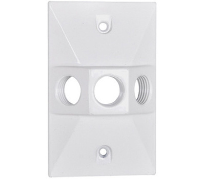Hubbell RE-3-W Master Electrician White Weatherproof Rectangular Lampholder Cover
