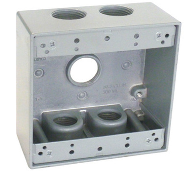 Hubbell TGB75-5 Master Electrician Gray Weatherproof 2 Gang Outlet Box