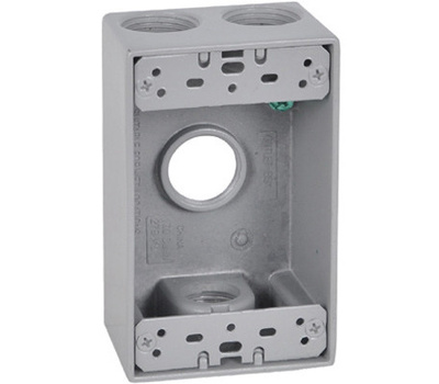 Hubbell FSB75-4 Master Electrician Gray Weatherproof 1 Gang Outlet Box