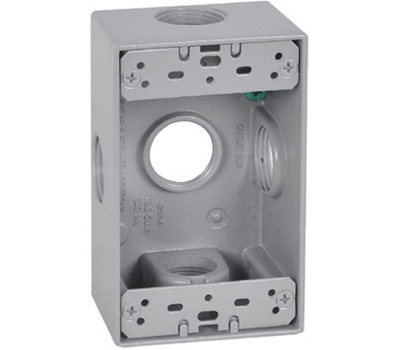 Hubbell FSB75-5X Master Electrician Gray Weatherproof 1 Gang Outlet Box