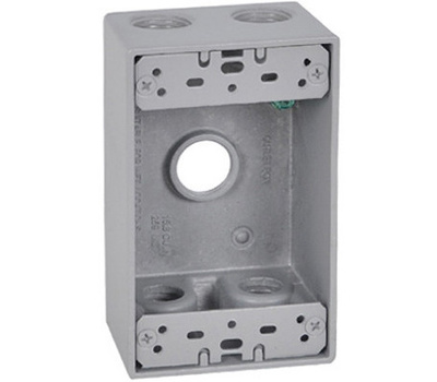 Hubbell FSB50-5 Master Electrician Gray Weatherproof 1 Gang Outlet Box