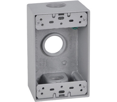 Hubbell FSB75-3 Master Electrician Gray Weatherproof 1 Gang Outlet Box