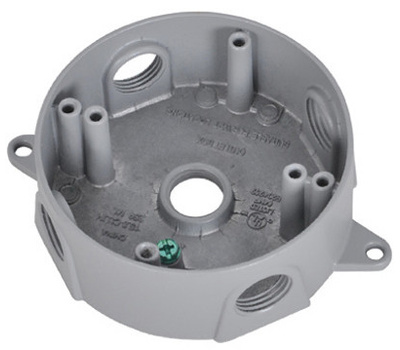 Hubbell BRD-4X Master Electrician Silver Weatherproof Round Outlet Box