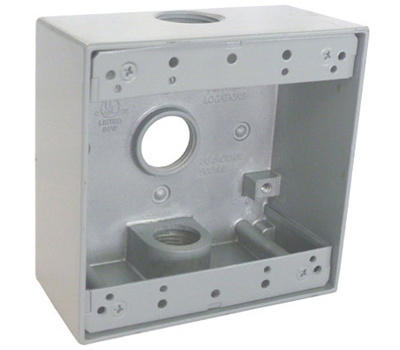 Hubbell TGB75-3 Master Electrician Gray Weatherproof 2 Gang Outlet Box