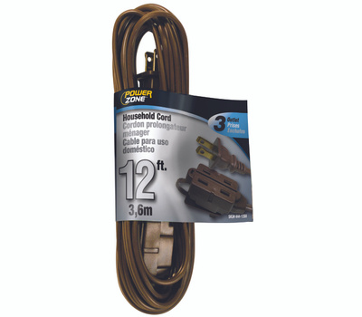 Power Zone OR670612 Cord Ext Indr 16/2sptx12ft Brn