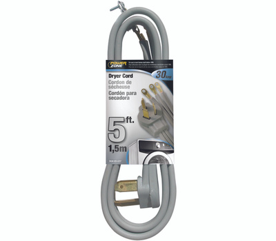 Power Zone ORD100305 Power Supply Dryer Cord, 10 Awg, Gray Jacket, 5 Ft L