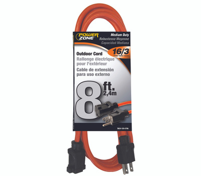 Power Zone OR501608 Extension Cord, 16 Awg, Orange Jacket, 8 Ft L