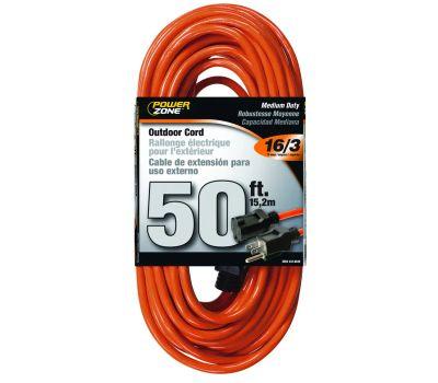 Power Zone OR501630 50 Foot 16/3 Outdoor Orange Vinyl Extension Cord