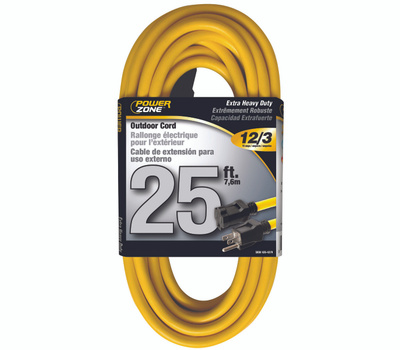 Power Zone OR500825 Extension Cord, 12 Awg, Yellow Jacket, 25 Ft L