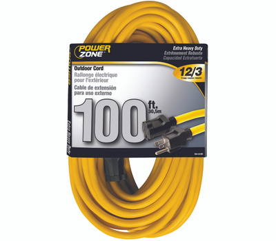 Power Zone OR500835 Extension Cord, 12 Awg, Yellow Jacket, 100 Ft L